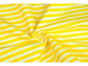 Bavlněné plátno proužky jasně žluté