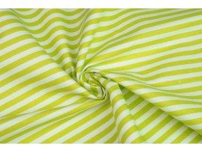 Bavlněné plátno proužky jasně zelené