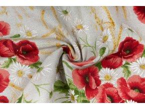 Bavlna režná kytky vlčích máků na režné