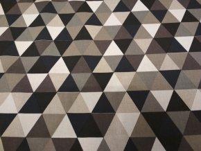 Bavlna režná trojúhelníky černohnědé