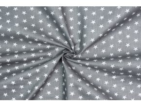 bavlnene platno male bile hvezdy na sede