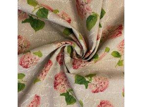 Bavlna režná růžové hortensie