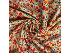 bavlnene platno barevne kvety na smetanove