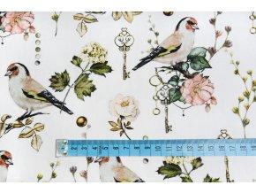 Bavlněný satén ptáci a klíč