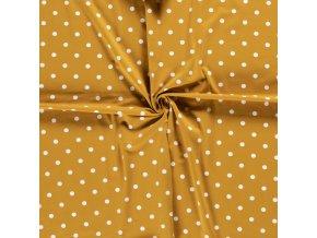 bavlneny uplet puntik bily na horcici