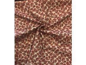 bavlnene platno sedocerveny kasmirovy vzor met