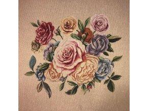 bavlna rezna panel ruze na smetanove