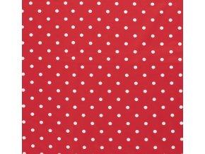 jednolici bavlneny uplet puntiky bile na cervene