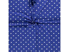 jednolici bavlneny uplet puntiky bile na kralovsky modre
