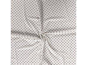 jednolici bavlneny uplet puntiky cerne na bile