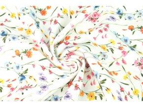 bavlnene platno barevne kytky drobne1