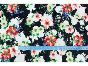 Riflovina barevné květy na černé