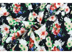 riflovina barevne kvety na cerne