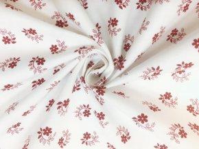 bavlnene platno cervene kvitky s listky na bile2