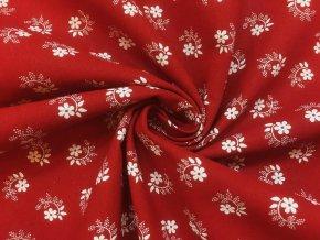 bavlnene platno bile kvitky s listky na cervene2