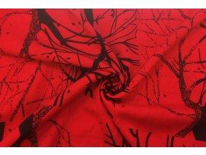 popelin cerne obrysy stromu na cervene2
