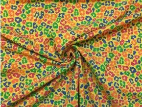 bavlneny jednolici uplet barevne abstraktni kvety na zlute3