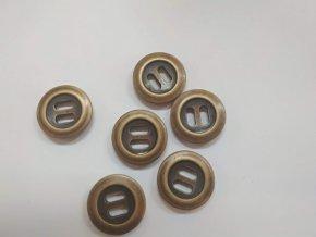 Knoflík dvoudírkový plastový 25 mm staromosazný