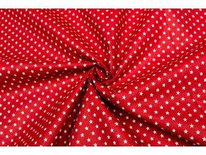 Bavlněné plátno bílé drobné hvězdičky na červené