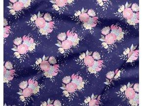 bavlneny saten kvety na tmave modre