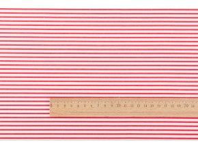 Bavlněné plátno červené proužky 2 mm na bílé