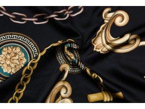 umele hedvabi silky armani ornamenty a retezy na cerne