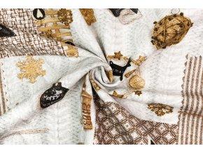 bavlna rezna zlate vanocni ozdoby na sed