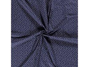 bavlnene platno lebky na modre drobny vzor 1