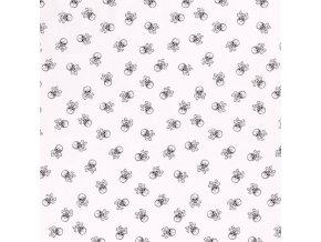 bavlnene platno cerne lebky na bile