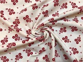 bavlnene platno svazek cervenych folklornich kvetu na bile