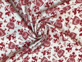 bavlnene platno cervena divka v kroji r