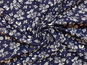 24932 bavlnene platno folklorni motiv s ptacky na modre