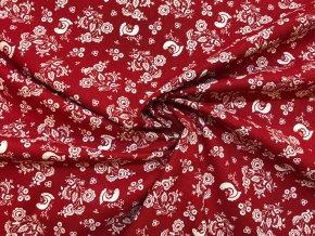 bavlnene platno folklorni motiv s ptacky na cervene r