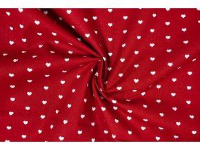 bavlnene platno bila srdce na cervene