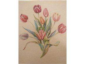 Bavlna režná panel tulipány na smetanové