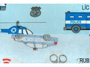 bavlnene platno policejni vozovy park na svetle modre 1