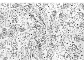 bavlnene platno na vybarvovani abeceda s priserkami 1