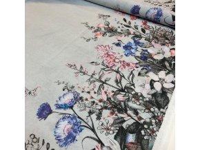 rezna bavlna oboustranna bordura modre lucni kvety 1