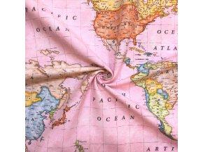 bavlna rezna mapa sveta na ruzove 1