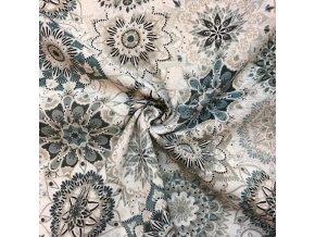 bavlna rezna kvetinove mandaly sedo modre 1