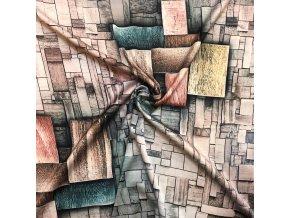 umele hedvabi silky sedozelena geometrie 1