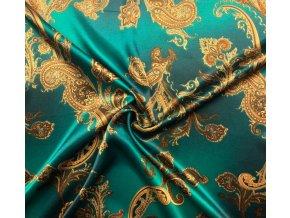 umele hedvabi silky armani zelena melaz se zlatymi kasmirovymi ornamenty 77