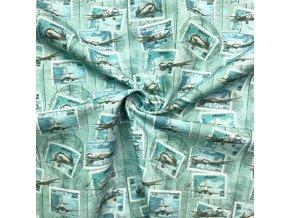 bavlnene platno znamky s letadly 1