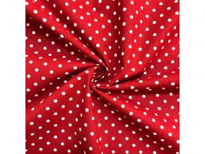 bavlnene platno bile punticky na cervene 1