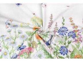 bavlna rezna oboustranna bordura lucni kviti s motyly a ptacky na bile
