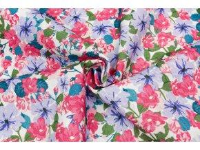 bavlnene platno rezne malovane ruzovo fialove kvety
