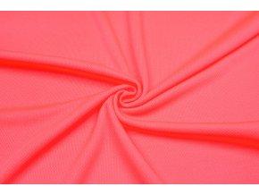 sportovni uplet pike 100 polyester koralovy neon