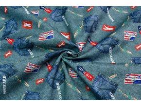 bavlnene platno postovni znamky a kapsy na tmave sede 11