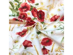bavlna rezna kytky vlcich maku na smetanove 1