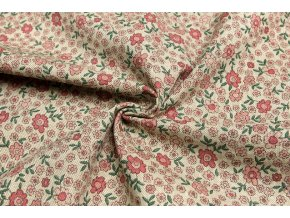 bavlna rezna ruzove male kvetinky